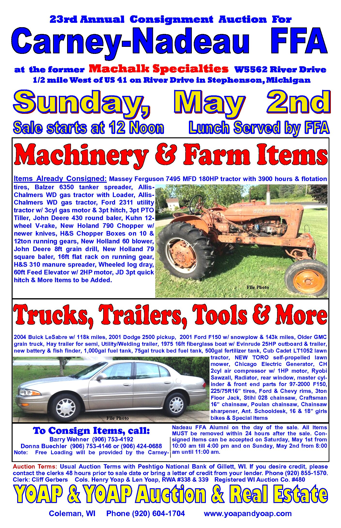 Annual Consignment Auction in Stephenson Michigan